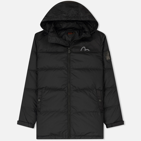 Мужской пуховик Evisu Hooded Down Mighty Evisu Leather Patch Black