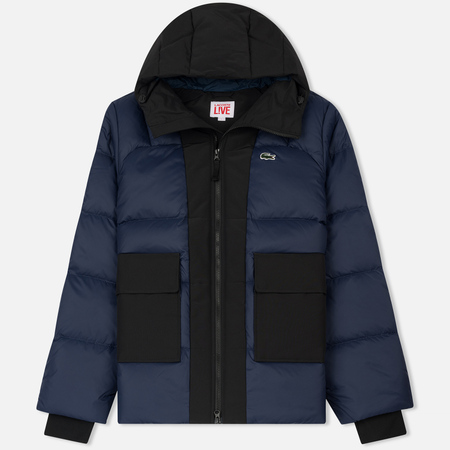 Мужской пуховик Lacoste Live Hooded Colorblock Quilted Navy Blue/Black