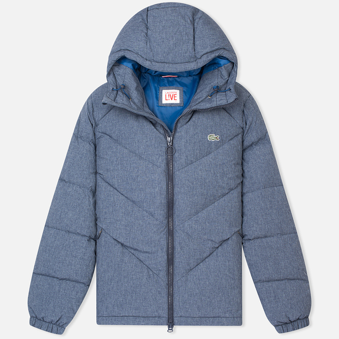 Мужской пуховик Lacoste Live Quilted Print Midnight Blue Chine