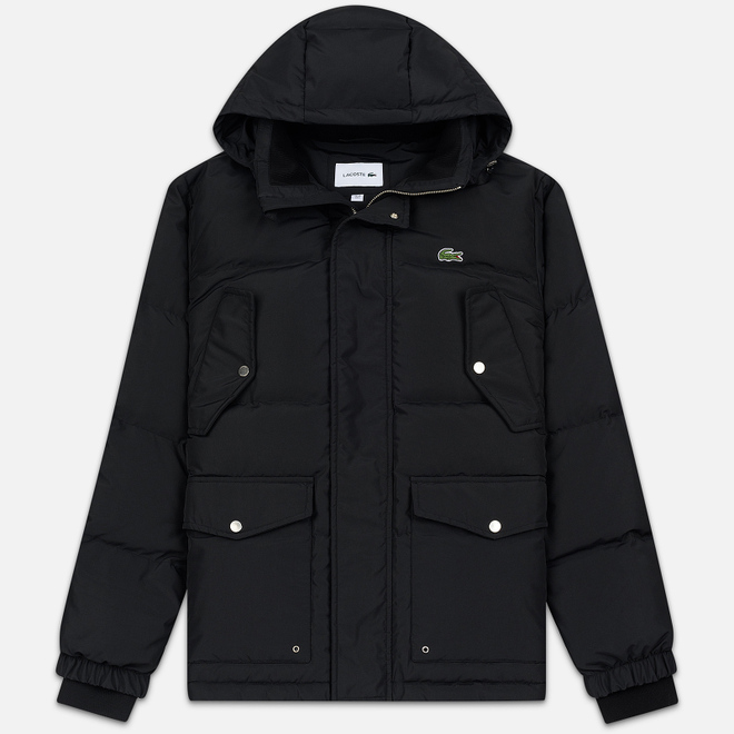 Мужской пуховик Lacoste Multiple Pockets Water-Resistant Hoodie Black
