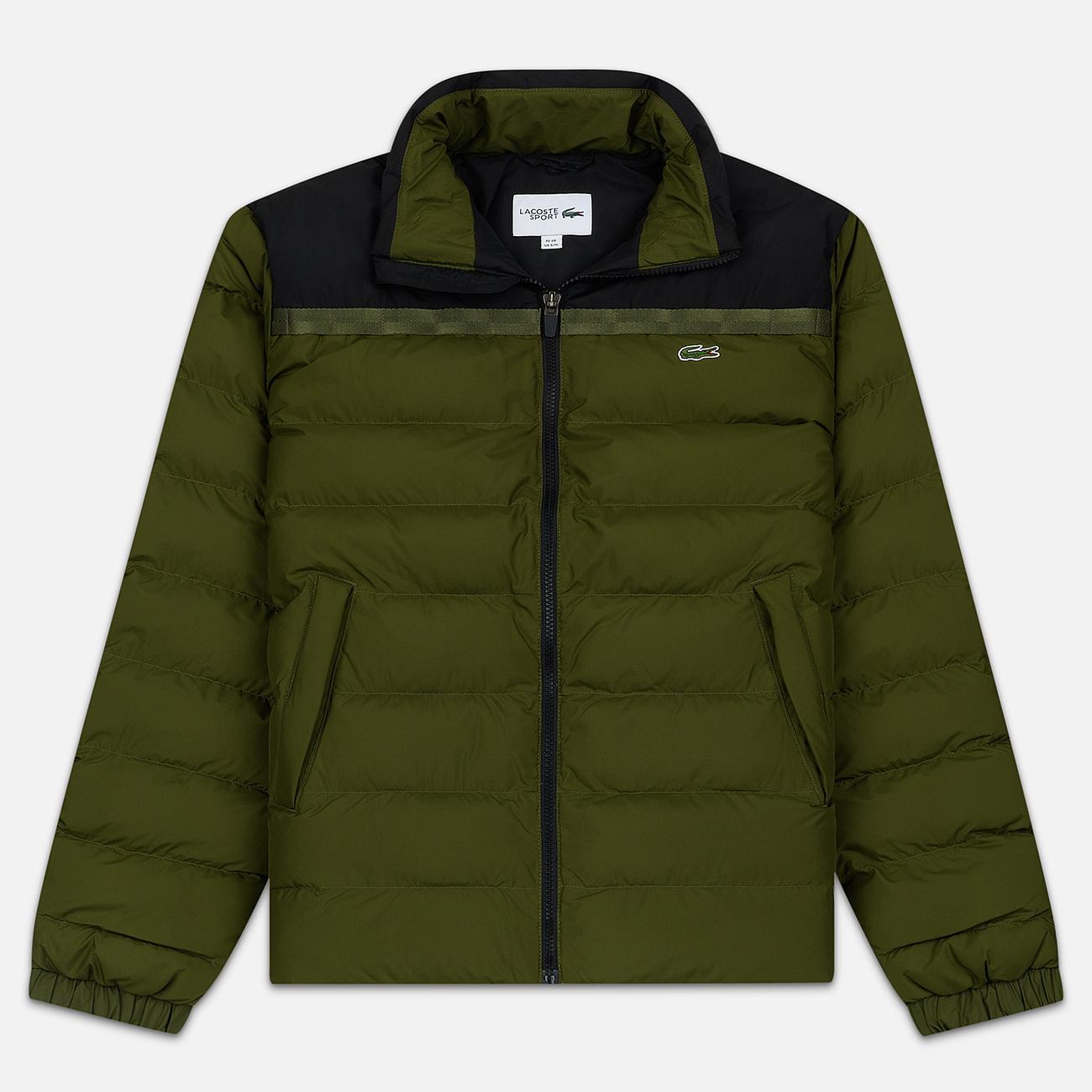 Мужской пуховик Lacoste Sport Colourblock Water-Resistant Black/Khaki Green
