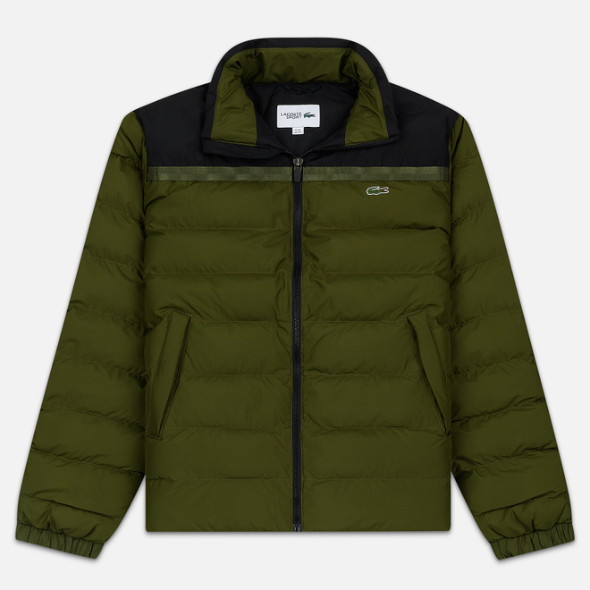 Мужской пуховик Lacoste Sport Colourblock Water-Resistant Black/Khaki Green
