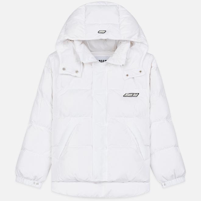 Мужской пуховик MSGM Cropped Down Hood White