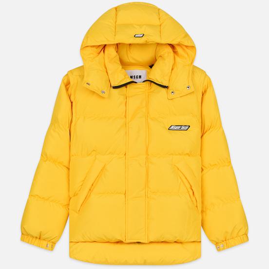 Мужской пуховик MSGM Cropped Down Hood Yellow