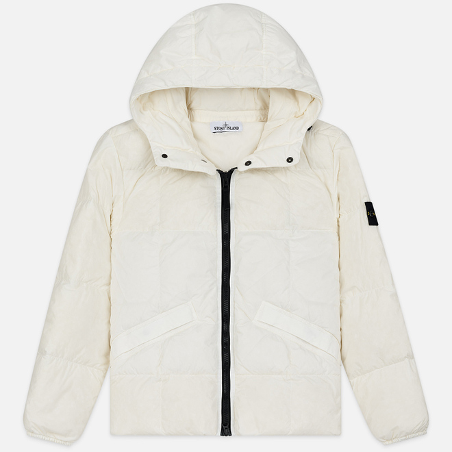 Мужской пуховик Stone Island Crinkle Reps Lightweight Nylon Down Natural White