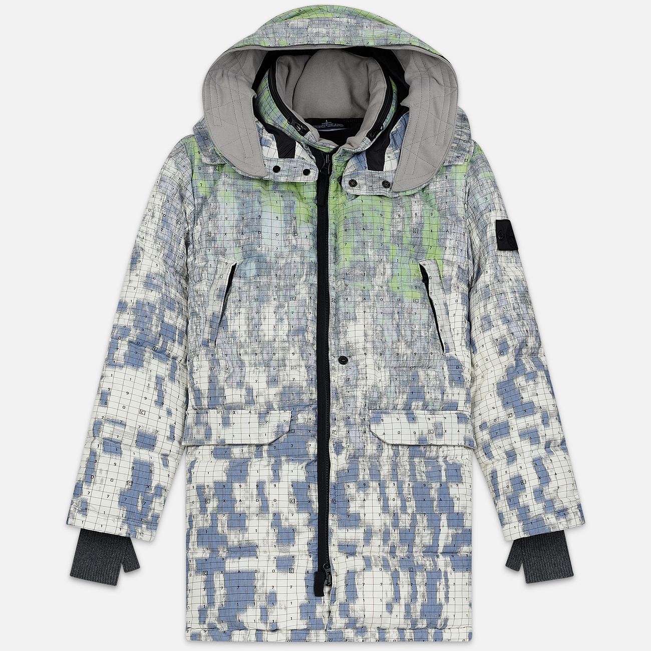 Мужской пуховик Stone Island Shadow Project DPM Chine Wool Long Pistachio