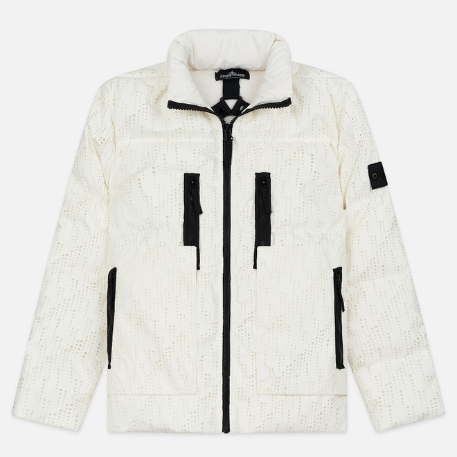 Мужской пуховик Stone Island Shadow Project Lasered Poly-Hide 2L Down Natural White