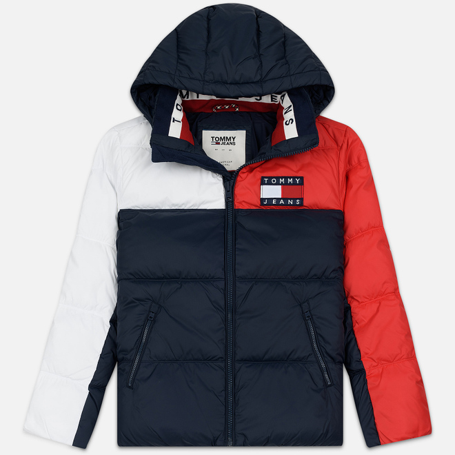 Мужской пуховик Tommy Jeans Essential Colour-Blocked Recycled Padded Black Iris/Multi