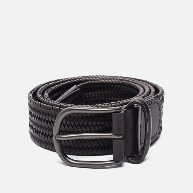 Ремень Anderson's Classic Woven Stretch Leather Dark Brown