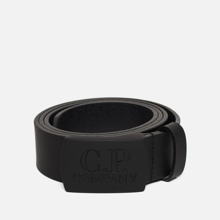 Ремень C.P. Company Pellame Gommato Buckle Logo Black