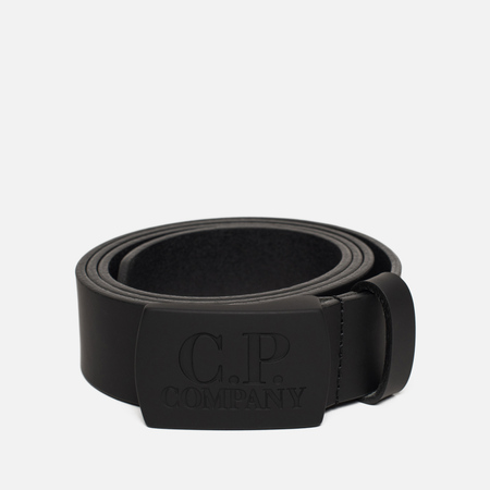 Мужской ремень C.P. Company Pellame Gommato Buckle Logo Caviar Black