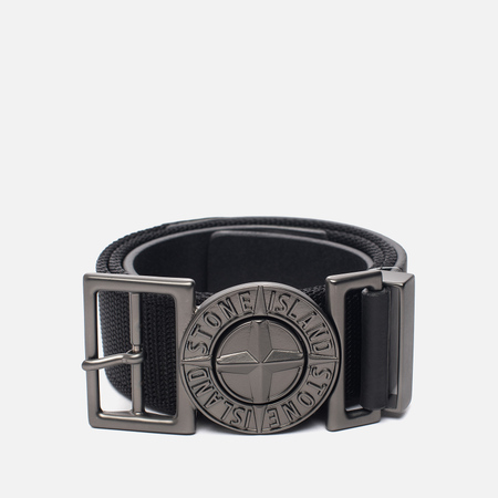 Мужской ремень Stone Island Buckle Compass 6715 Nylon/Leather Black