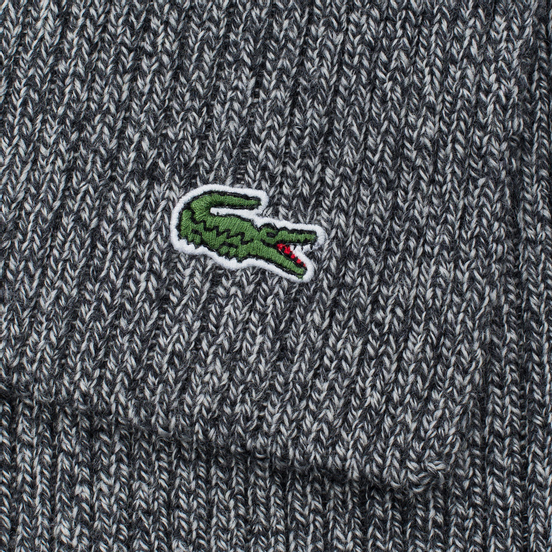 Шарф Lacoste Green Croc Wool Light Grey Jaspe