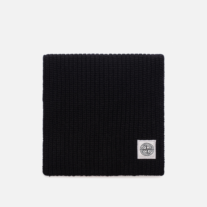 Мужской шарф Stone Island Lambswool Compass Patch Logo Black