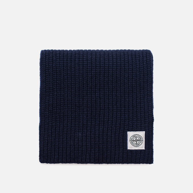 Мужской шарф Stone Island Lambswool Compass Patch Logo Blue