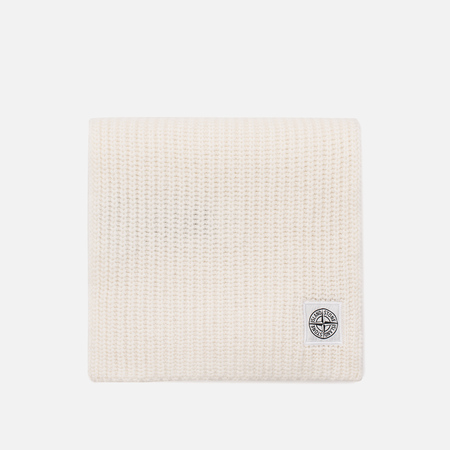 Мужской шарф Stone Island Lambswool Compass Patch Logo Natural White