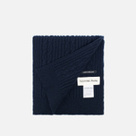 Universal Works Long Soft Wool Cable Men's Scarf Navy photo- 1