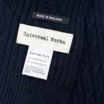 Universal Works Long Soft Wool Cable Men's Scarf Navy photo- 2