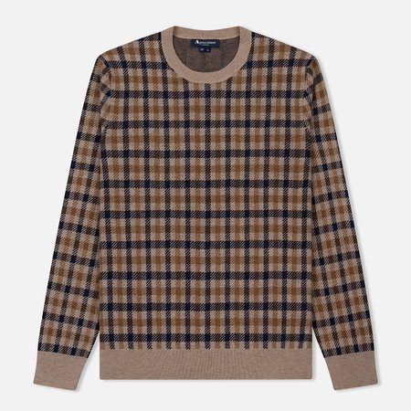 Мужской свитер Aquascutum Hinton Club Check Jaquard Crew Neck Vicuna
