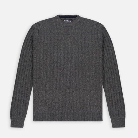 Barbour Essential Cable Crew Men's Sweater Grey Marl