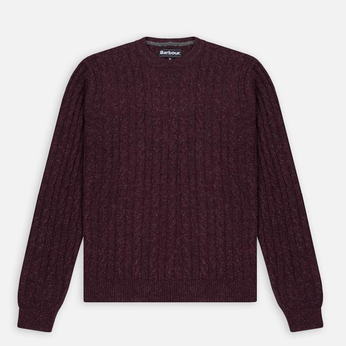 Barbour Essential Cable Crew Men's Sweater Merlot