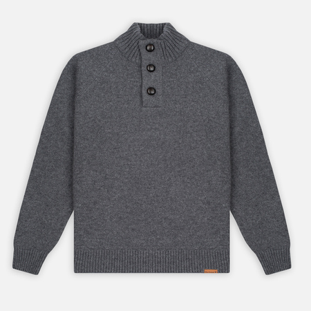 Barbour Essential Chunky Half Button Men's Sweater Grey Marl