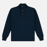 Мужской свитер Barbour Essential Chunky Half Button Navy Mix фото- 0