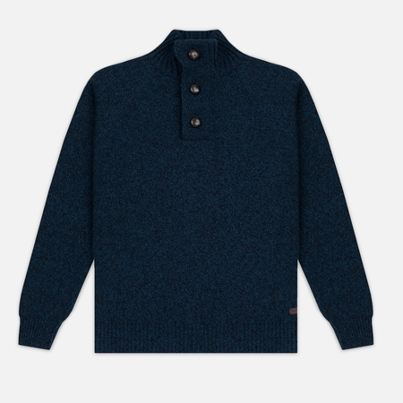 Barbour Essential Chunky Half Button Men's Sweater Navy Mix
