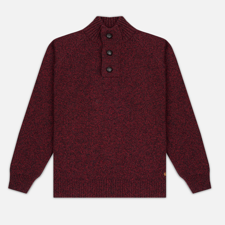 Barbour Essential Chunky Half Button Men's Sweater Red