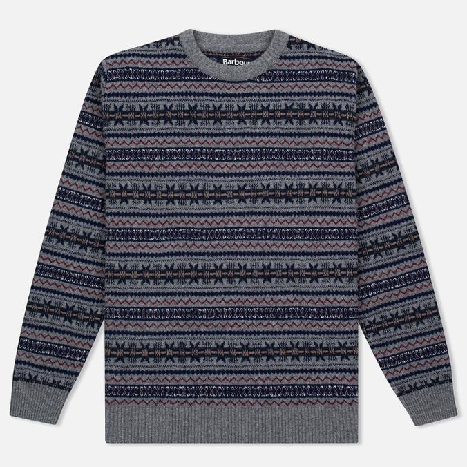 Мужской свитер Barbour Harvard Fairisle Crew Neck Grey Marl