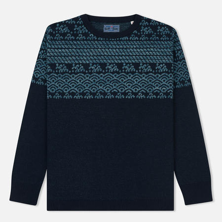 Мужской свитер Blue Blue Japan J5583 Wave Design Jacquard Navy