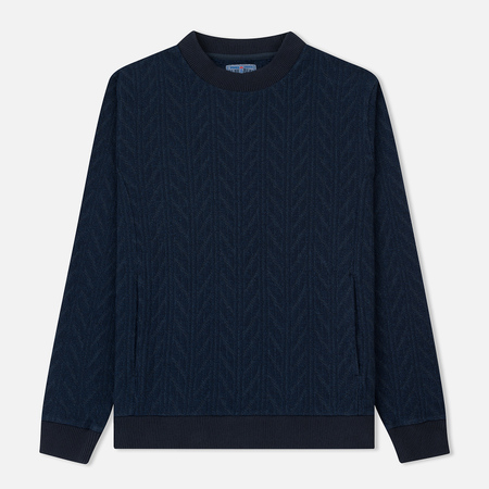 Мужской свитер Blue Blue Japan J5682 Rope Pattern Jacquard Crew Neck Navy