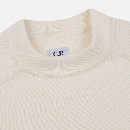Мужской свитер C.P. Company Crew Neck Lens Pocket Gauze White