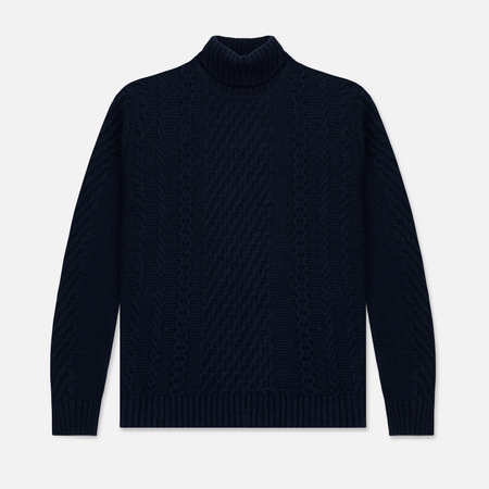 Мужской свитер Edwin United Rollneck Ecoplanet Wool Blend Navy Garment Washed