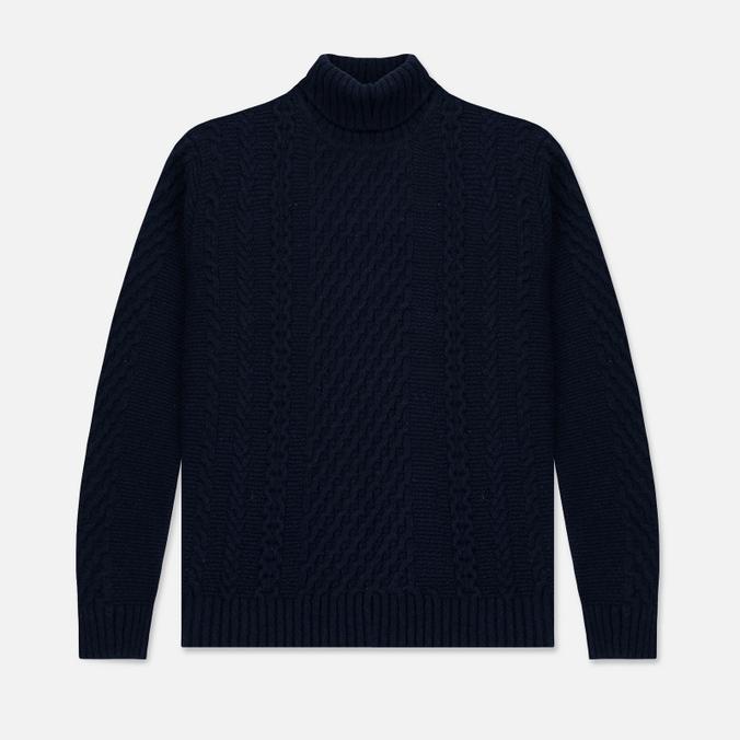 Мужской свитер Edwin United Rollneck Ecoplanet Wool Blend Navy Garment Washed