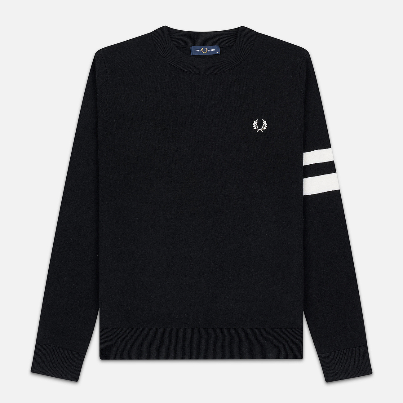Мужской свитер Fred Perry Tipped Sleeve Crew Neck Black