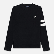 Мужской свитер Fred Perry Tipped Sleeve Crew Neck Black фото- 0