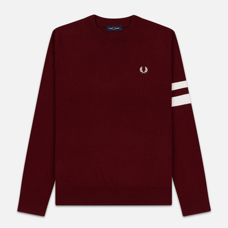 Мужской свитер Fred Perry Tipped Sleeve Crew Neck Dark Red