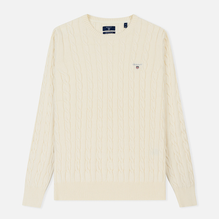 Мужской свитер Gant Basic Cotton Cable Crew Cream