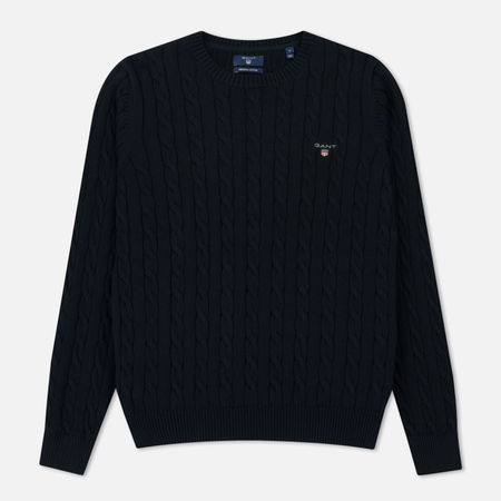 Мужской свитер Gant Basic Cotton Cable Crew Evening Blue