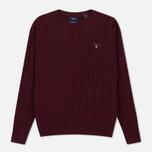 Мужской свитер Gant Basic Cotton Cable Crew Purple Wine фото- 0