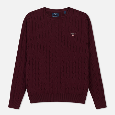 Мужской свитер Gant Basic Cotton Cable Crew Purple Wine