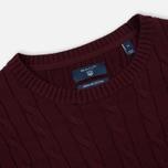 Мужской свитер Gant Basic Cotton Cable Crew Purple Wine фото- 1