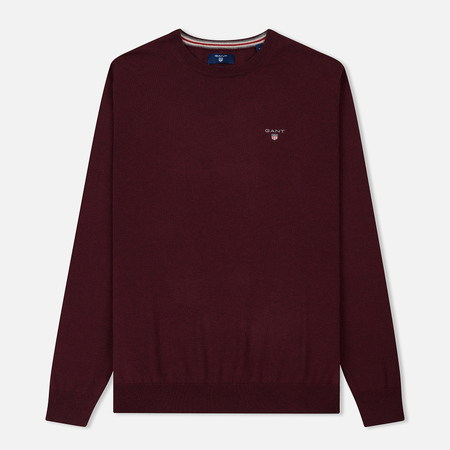 Мужской свитер Gant Basic Cotton Wool Crew Dark Burgundy Melange
