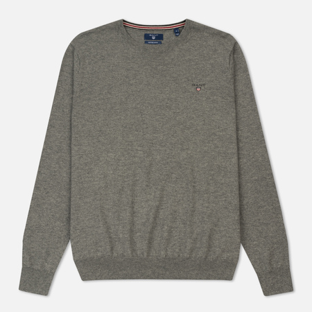 Мужской свитер Gant Basic Cotton Wool Crew Dark Grey Melange
