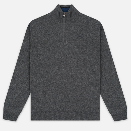 Hackett Half Zip Men's Sweater Grey Marl