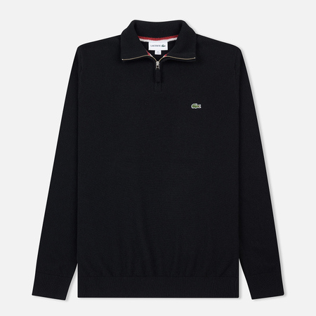 Мужской свитер Lacoste Crew Neck Wool 1/2 Zip Black/Passion Flour