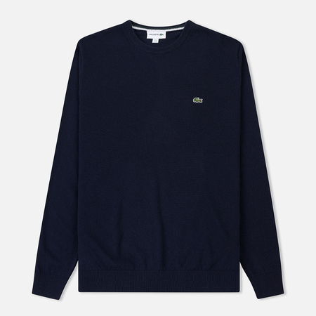 Мужской свитер Lacoste Crew Neck Wool Navy Blue/Sinople Flour