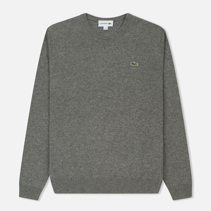 Мужской свитер Lacoste Embroidered Croc Logo Crew Neck Grey