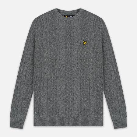 Мужской свитер Lyle & Scott Cable Knit Mid Grey Marl